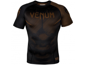rashguard venum short sleeves nogi black brown f1