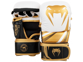 sparring gloves venum challenger white black gold f1