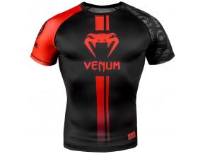 venum 03450 100 rashguard short sleeves logos black red f1