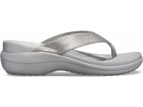 Crocs Capri MetallicTxt Wedge Flip W - Silver/Silver