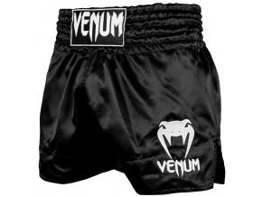 shorts venum muay thai classic black white f1