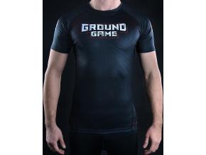 Rashguard Ground Game BJJ IBJJF ČERNÝ - krátký rukáv