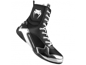 venum 03681 128 boxing shoes elite black silver boxerske boty obuv f1
