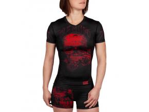 damsky rashguard short venum santa muerte 3.0 black red 1