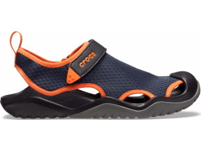 Crocs Swiftwater Mesh Deck Sandal M Navy/Tangerine