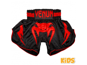 shorts muay thai kids venum inferno black red 1