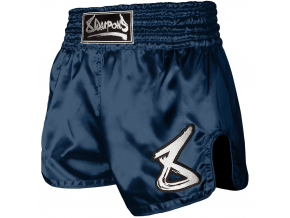 8 weapons muay thai shorts strike navy weiss