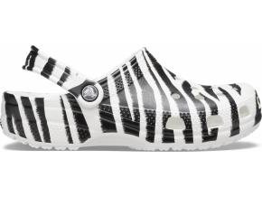 Crocs Classic Animal Print Clog White/Zebra Print