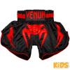 shorts muay thai kids venum inferno black red 1