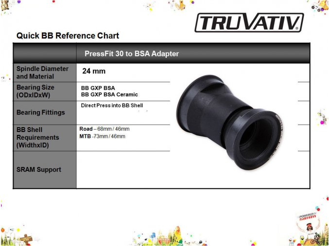 PressFit 30 to BSA adapter, 68 or 73mm