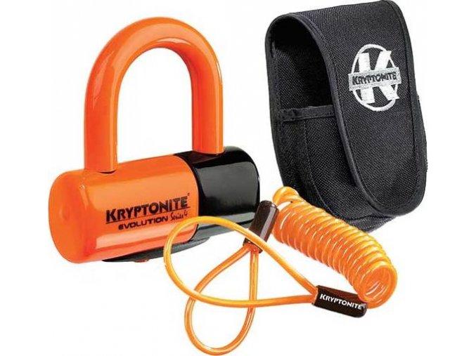 Kryptonite Evolution Disc Lock Premium Pack - Orange w/pouch, reminder