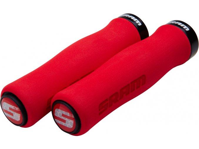 SRAM Locking gripy pěnové tvarované, 129mm červené s černou objímkou a koncovkami řidítek