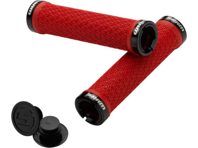 SRAM Locking gripy červené s dvěmi objímkami a koncovkami řidítek