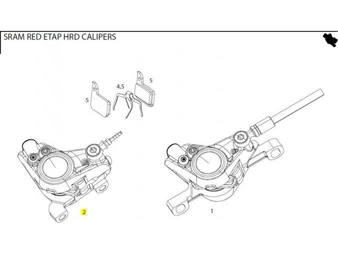 Red eTap HRD Caliper Assembly Flat Mount Front/Rear Falcon Grey