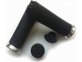 Locking gripy pro Grip Shift Integrated 85mm se stříbrnou objímkou a koncovkou řidítek
