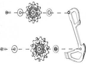 Kladky pro přehazovačku GX Eagle (v balení kladky a vnitřní vodítko)