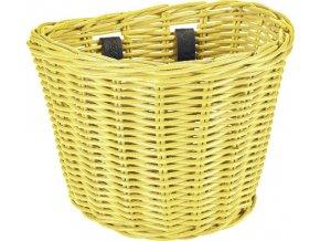 Košík přední ratanový malý se sponkami - Pineapple Yellow
