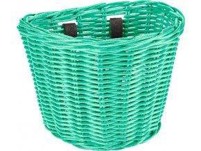 Košík přední ratanový malý se sponkami - Mint Green