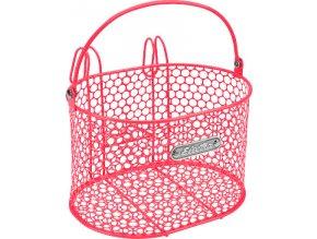 Košík přední s háčky Honeycomb - Hot Pink