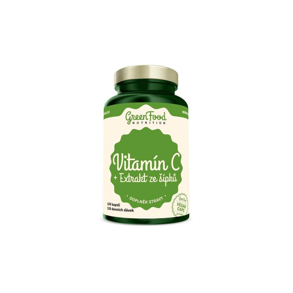 GreenFood Vitamín C + Extrakt ze šípků 120 kapslí