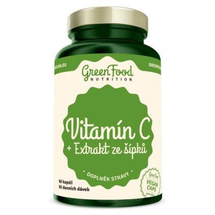 GreenFood Vitamín C + Extrakt ze šípků 60 kapslí