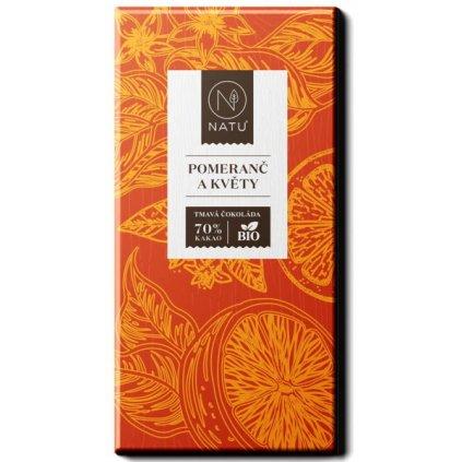 Natu Hořká čokoláda pomeranč a květy BIO     45g