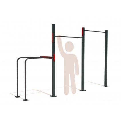 Venkovní workoutová sestava se dvěma hrazdama a bradly WORKOUT STATION DOUBLE pro základní cviky s vlastní vahou jako jsou shyby - pull up, dipy - tricepsové kliky. Hrazda pro celou rodinu - děti, mládež i dospělé.
