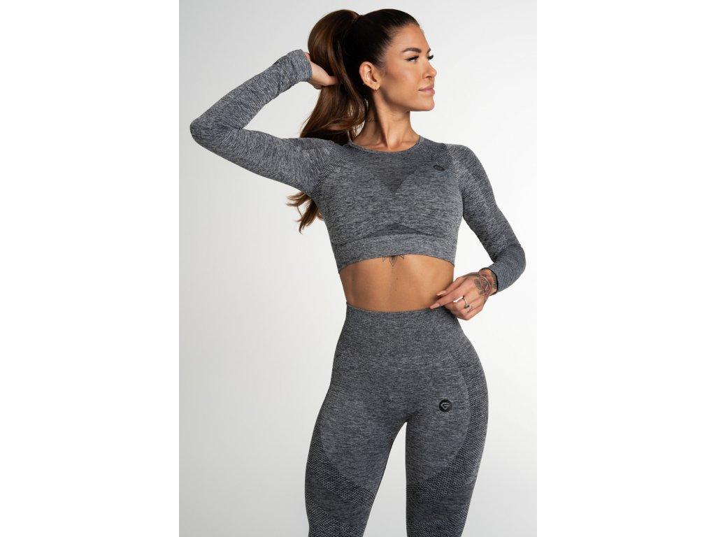 Gym Glamour Crop Top Bezešvý Fusion Dark Grey