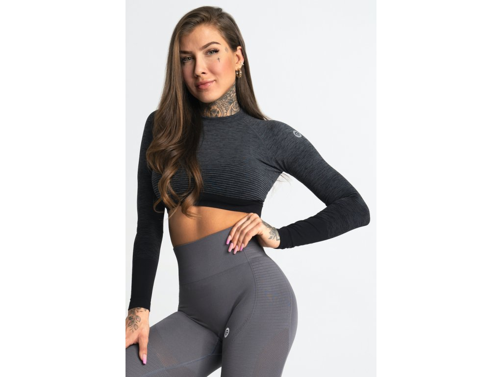 Gym Glamour Crop-Top Grey Ombre