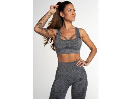 Gym Glamour Bezešvá Podprsenka Fusion Dark Grey