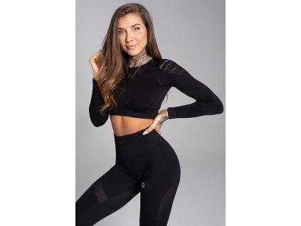 Gym Glamour Crop-Top All Black