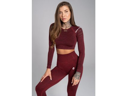 Gym Glamour Crop-Top Bordo Melange