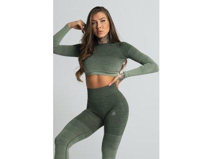Gym Glamour Crop-Top Khaki Ombre