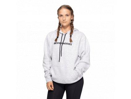 Better Bodies Mikina Logo Hoodie Light Grey Melange