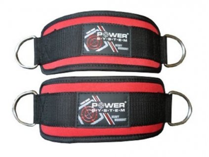 power system fitness kotnikovy adapter ankle straps cerny cerveny