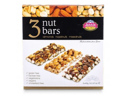 Jannis Deluxe 3 Nut bar set 120g