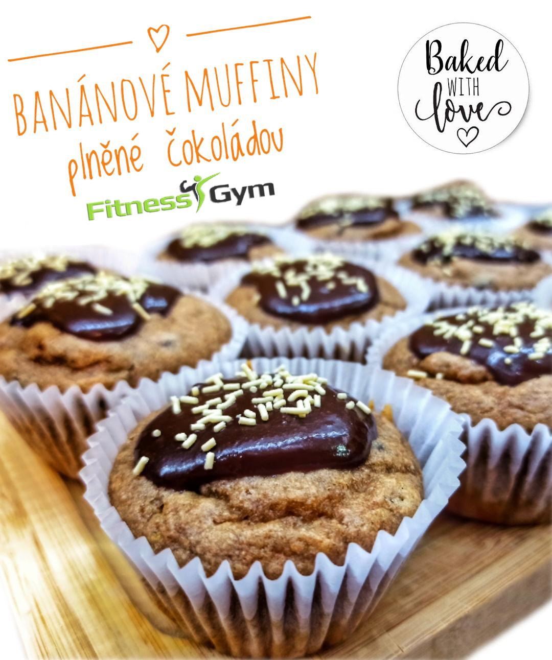 Banánové muffiny plněné čokoládou