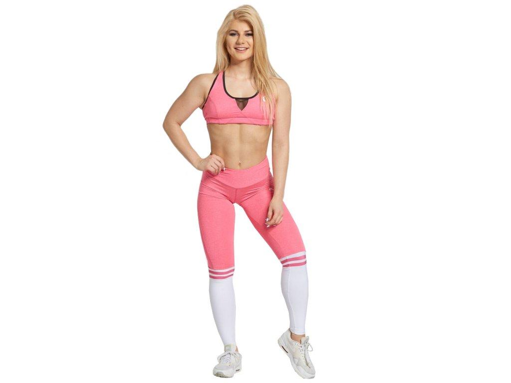 Gym Glamour legíny růžové s bílými ponožkami