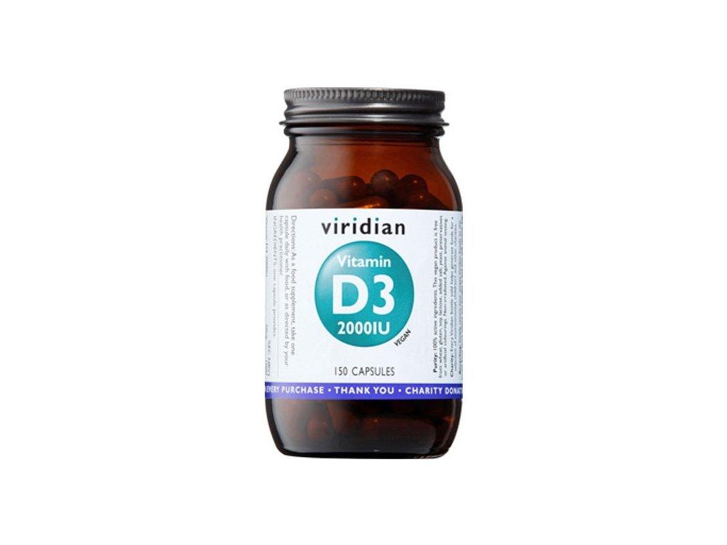 Viridian Vitamin D3 2000 IU 150kapslí