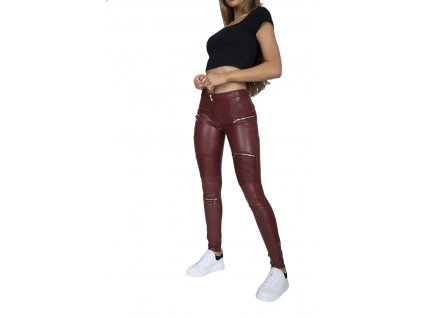 Hugz Jeans Wine Faux Leather Biker Mid Waist