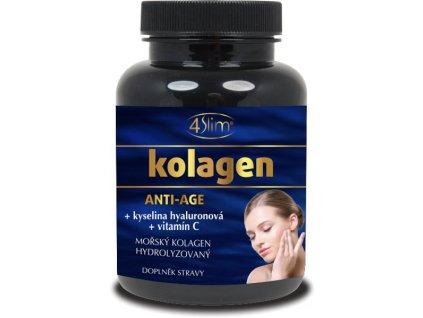 4Slim Mořský hydrolyzovaný kolagen Anti-age + vitamín C + kyselina hyaluronová 360 mg 90 kapslí