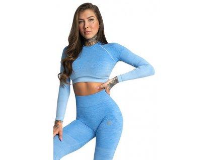 Gym Glamour Crop-Top s dlouhým rukávem Blue Ombre