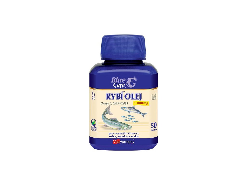 BLUE CARE Rybí olej 1000 mg - Omega 3 EPA + DHA - 50 tob.