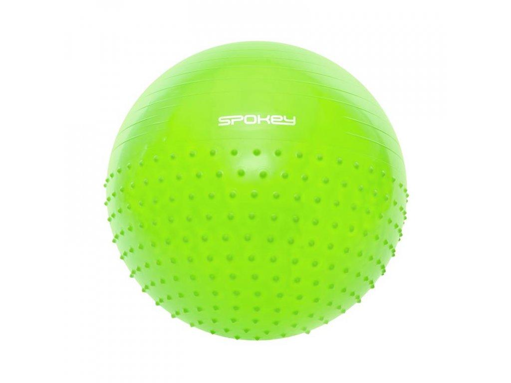 HALF FIT Gymnastický míč 2v1 masážní zelený, 65 cm včetně pumpičky