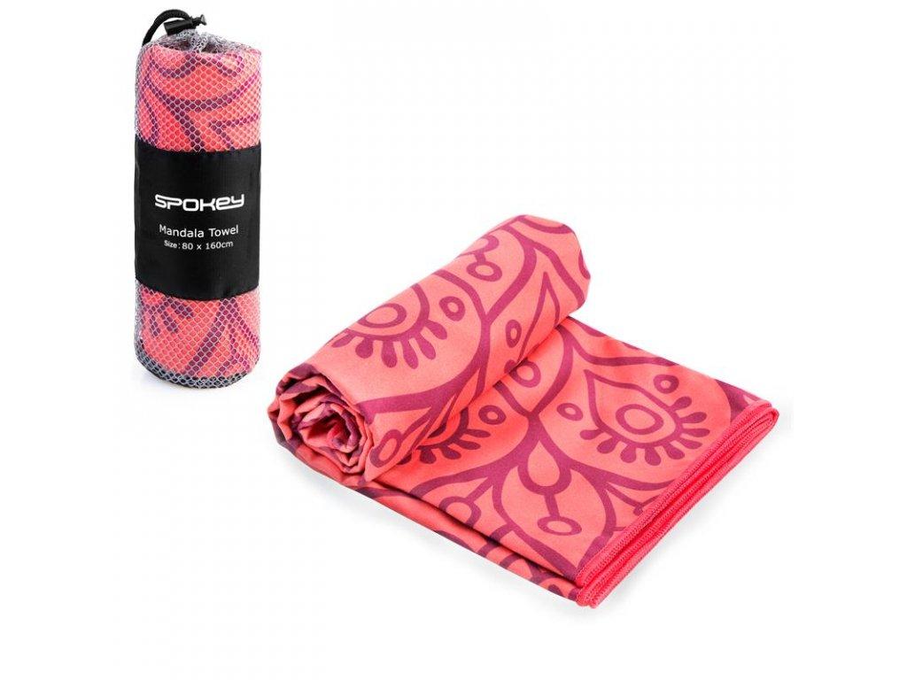 MANDALA Rychleschnoucí plážový ručník, lososový, 80 x 160cm