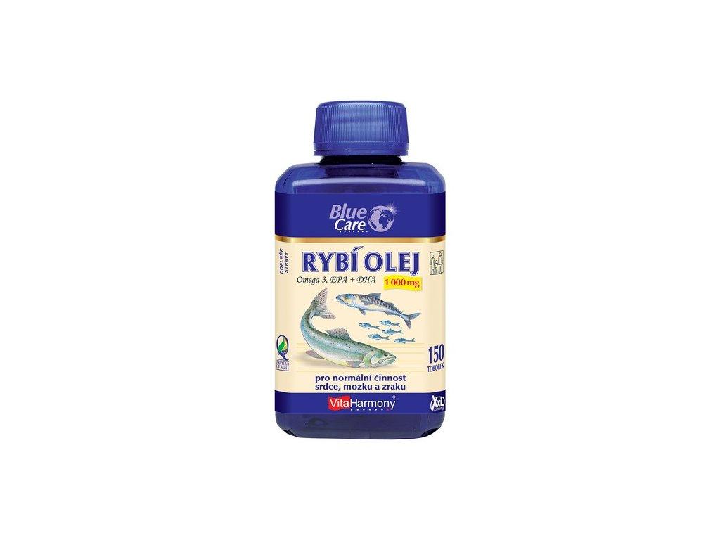 BLUE CARE Rybí olej 1000 mg - Omega 3 EPA + DHA - XXL economy balení 150 tob.