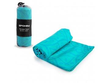 MANDALA Rychleschnoucí plážový ručník, tyrkysový, 80 x 160 cm