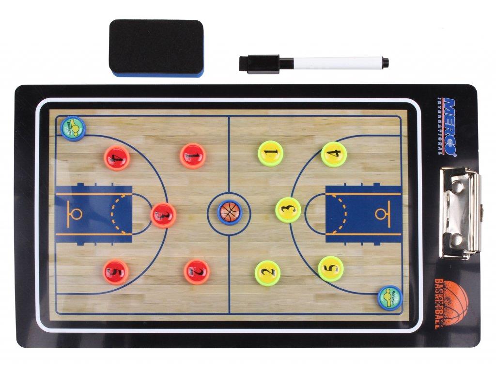 Basketbal 65 magnetická trenerská tabuľa, s klipom