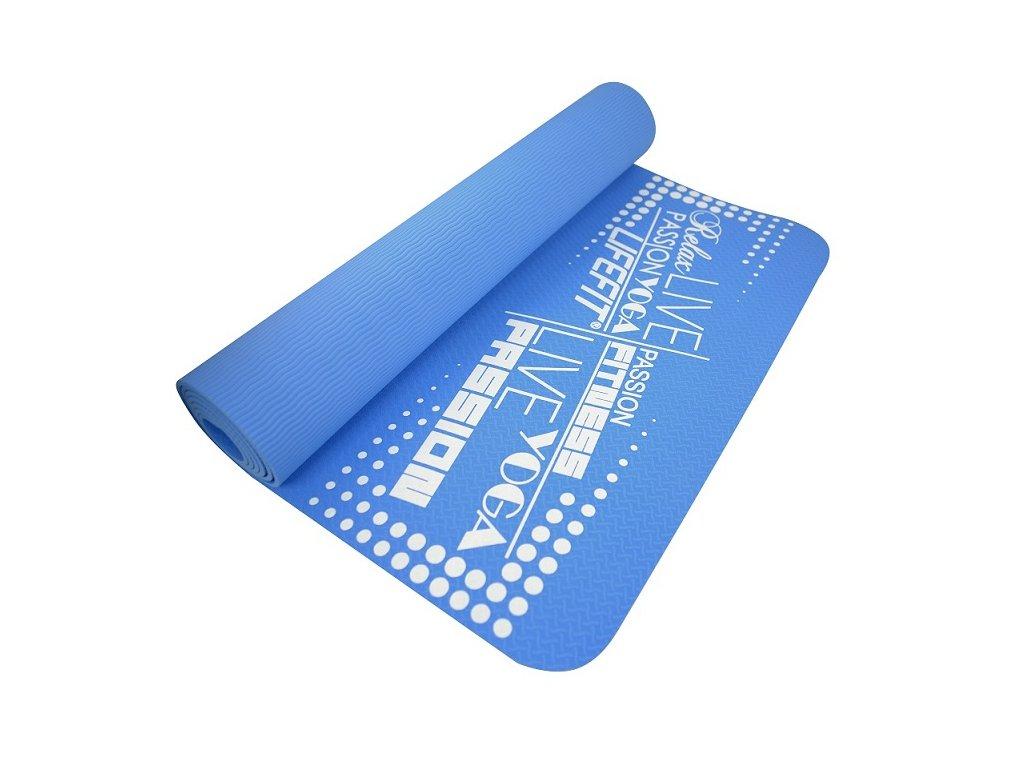 Podložka LIFEFIT YOGA MAT TPE, 183x61x0,4cm, modrá
