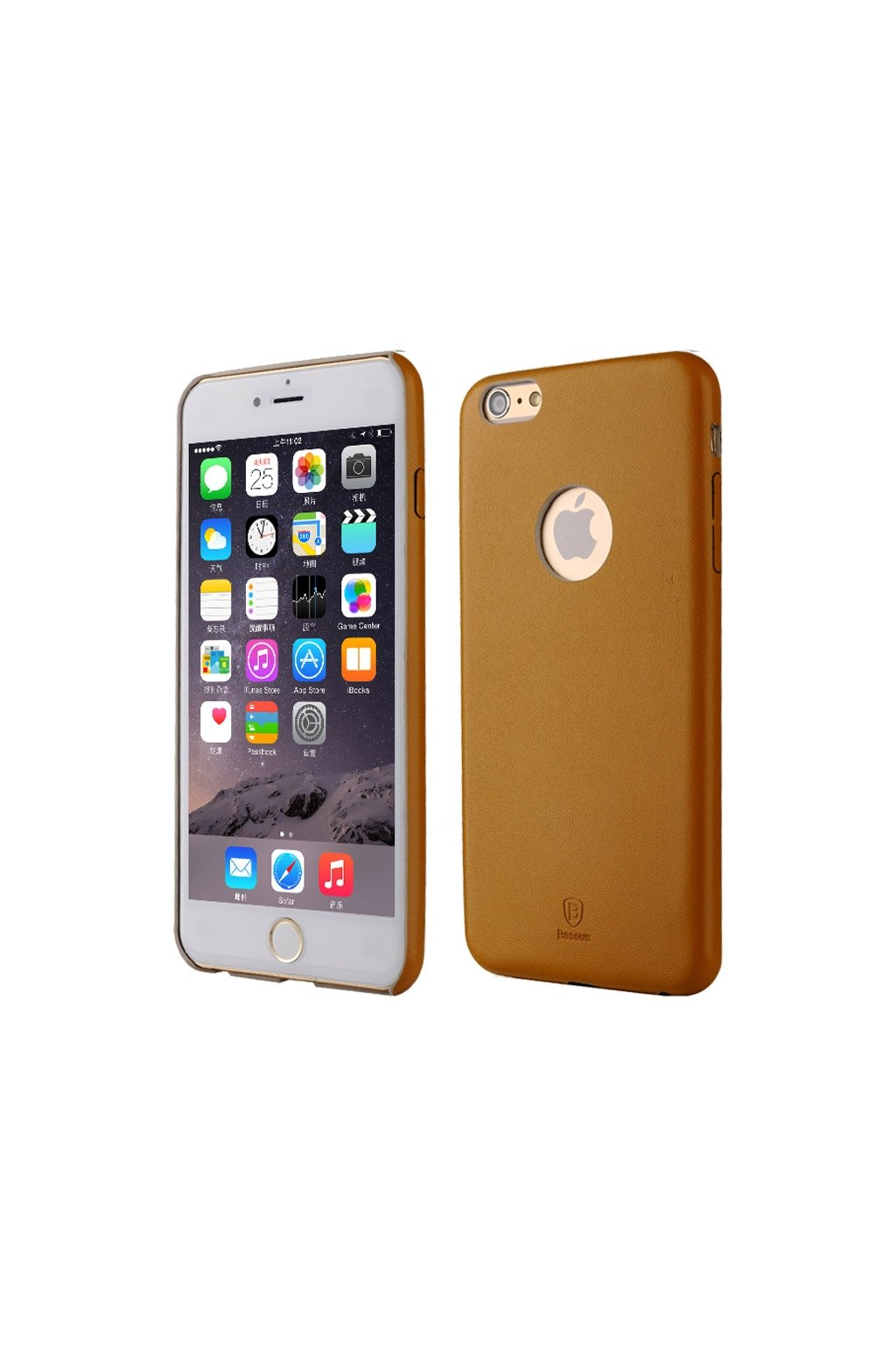 Pouzdro Baseus PU koženkové Apple iPhone 6/6S Plus, brown
